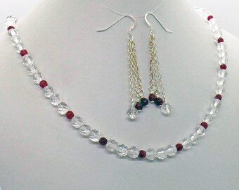 Rock Crystal Red Quartz Necklace Earrings Set Natural Stone Jewelry