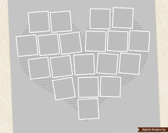 Heart Shape Photo Collage Template 24x24 & 11x11 - Photoshop Story / Blog Board  - digital template photographers - INSTANT DOWNLOAD - S001