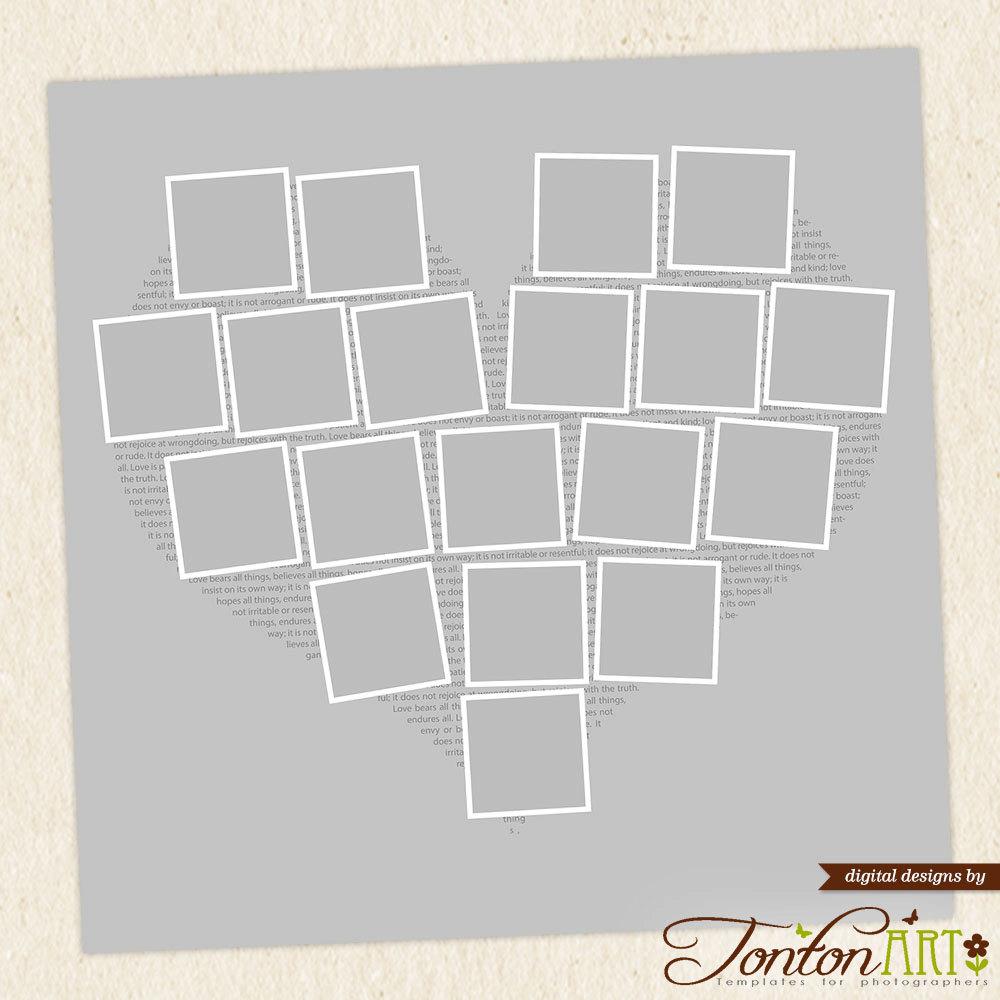 Herz Foto-Collage-Vorlage Form 24 x 24 & 11 x 11 Photoshop