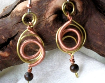 Original earrings - Mixmetal wire with tiger eye bead - Handmade Artisan Jewelry