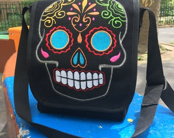 Black Canvas Messenger Bag with Embroidered Sugar Skull Patch, Canvas Courier Bag, Day Bag, Cross Body School Bag