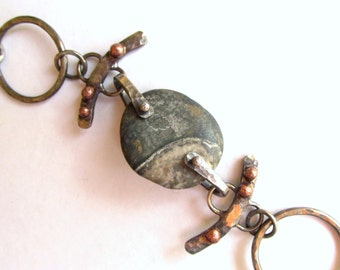 Bracelet - Chain Link - Sterling Silver - Copper - Rivet Beach Stone - Hand Forged - Silversmith - RMD Designs