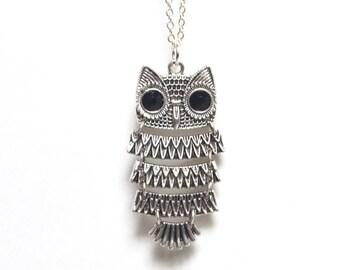 Owl Necklace, Owl Jewelry, Barn Owl Necklace, Moving Owl Necklace, Bird Necklace, Nature Necklace, Spring Jewelry, Canadian Jewellery
