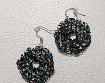 Crochet earrings with swarowski crystals