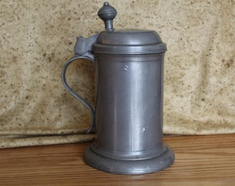 Danish Pewter Stein or Tankard with Hinged Lid by Axel Hasselstrom