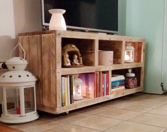 handmade tv stand from pallet wood, media console, media center, enterteiment, cabinet