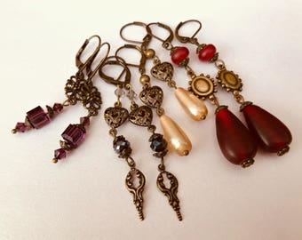 Victorian Renaissance Medieval brass earrings Valentines hearts romantic dangle earrings four pair set vintage
