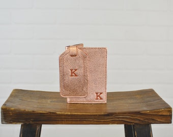 Women's Gift Set Passport Holder + Luggage Tag | Personalized Leather | Rose Gold Leather Passport Cover Wallet Bridesmaid Gift for Her Mom