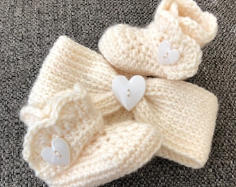 Crochet Headband and Booties Set in Cream with Heart Buttons Size Newborn