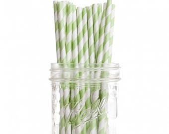 Paper Straws | Green & White Striped Paper Straws 7.75"