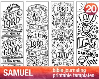 SAMUEL - 4 Bible journaling printable templates, illustrated christian faith bookmarks, black and white bible verse prayer journal stickers