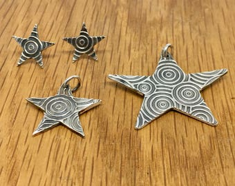 Swirly Silver Star pendant and necklace, Silver jewellery, Present for her, Unusual star necklace, Star necklace, Swirly star, Silver star