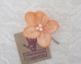 Peach Flower Hair Piece. Peach Flower Hair Pin. Flower Hair Accessory.