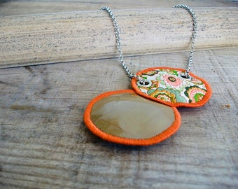 Orange, Handmade Jewelry, Boho Necklace, Unique, Vegan Friendly, Recycled, Boho Pendant, Jewelry, Collection Leftovers, UNUSUAL