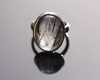 Oval Tourmalated Quartz Ring, Size 7, Black Tourmaline Ring, Black Rutile Rutilated Quartz, Black Schorl