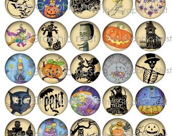 1 inch vintage halloween circles. digital download