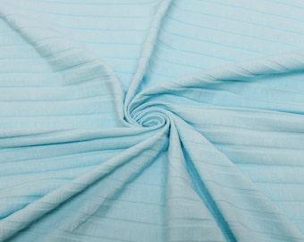 Aqua Wide Rib Knit Stretch Fabric by the yard - 1 Yard Style 6689
