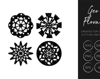 Floral SVG Cut File, Geo Floral SVG, Craft Cutting Files, SXF Cut File, Silhouette Cameo, Cricut Explore, Commercial Use, geometric svg