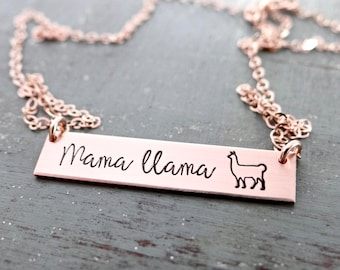 Mama Llama Gold Bar Necklace. Customize your own Names or Words. Hand Stamped Simple Layering Bar Necklace. Rose Gold, Gold, or Silver