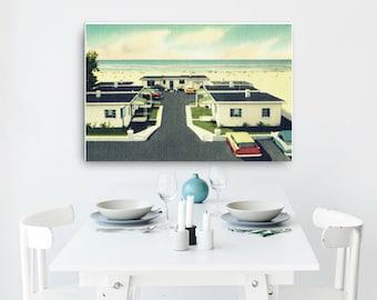Mid Century Art on Canvas 24x36, Mid Century Motel Art Beach Home Decor, Vintage Florida Art, Vintage Beach Interior Decor, Beach Home Gifts