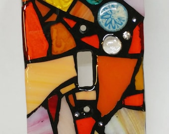 ORANGE and cream Mix- STAINED Glass MOSAIC Light Switch Cover - single, double, triple, outlet, or decora gfci - made to order