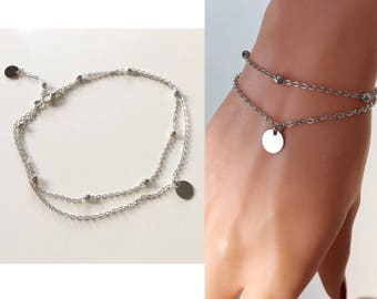 Silver Ball Bracelet, Delicate Double Chain Bracelet, Ball Chain Bracelet, Dainty Jewelry, Silver Jewelry, Beach Accessory, Summer Fashion