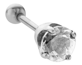 5mm Birthstones 14K White Gold Cartilage Helix Stud Earring
