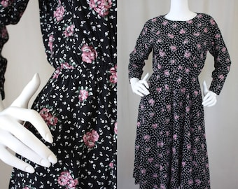 Vintage Black & Pink Roses 90s Long Sleeves Swing Dress | Fit and Flare | S/M