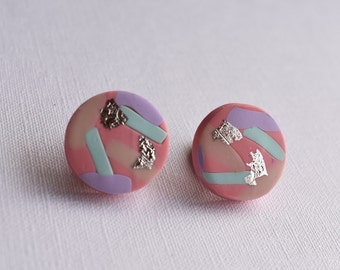 Pink stud earrings, Large earrings, 18mm earrings
