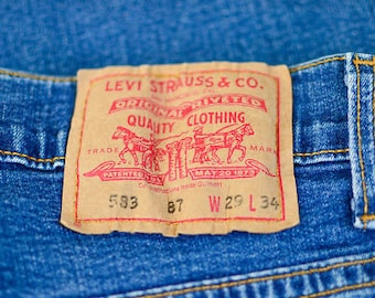 Vintage Levi 583 Jeans Tapered Zip Fly Blue (Patch W29 L34) W 26 L 29 UK 8