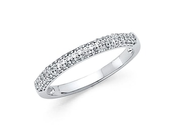 14k Solid White Gold 0.50 Ct Diamond Wedding Band Ring Round Cut