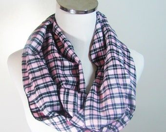 Pink Infinity Scarf, Pink  Plaid Infinity Scarf, Scarf, Plaid Scarf,Pink  Loop Plaid Scarf , Circle Scarf.Women's Scarf.