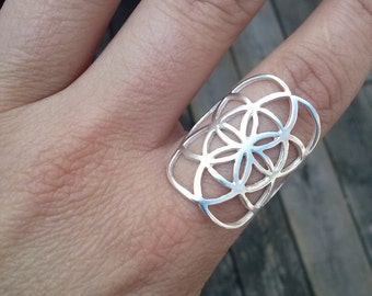 Seed of life ring in sterling silver - sacred geometry - flower of life ring - silver ring - high quality