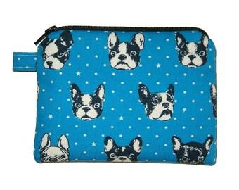 Blue French Bulldog Coin Purse - Padded Pouch - Bulldog Zipper Pouch - Dog Purse - Kawaii Purse
