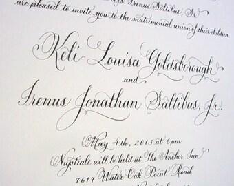Wedding Invitation Custom Design Calligraphy by Hand
