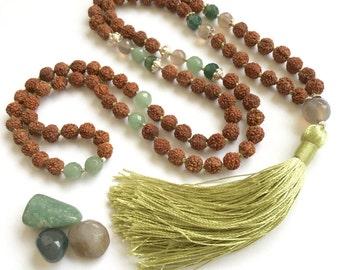 Anahata Mala * 108 Mala Necklace * Meditation Mala * Rudraksha, Grey Agate, Aventurine, Moss Agate & 925 Silver Mala * Bohemian * MALATOPIA