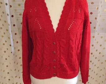 Gorgeous Red Vintage Maggie Lawrence Button Up Cardigan Small