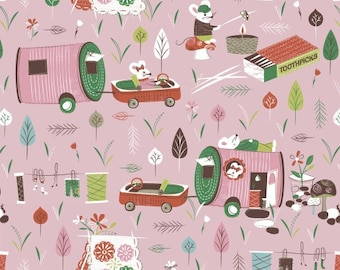 Campers (Pink) - Mouse Camp - Erica Hite - Windham Fabrics - 1 Yard