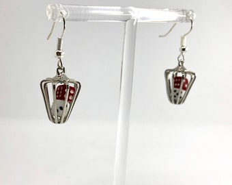 50s 60s Mini Dice Cage Silver Dangle Earrings, Red and White, Gambler, Casino (E)