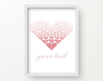 8x10 Pink Heart Digital Origami Print – You are loved