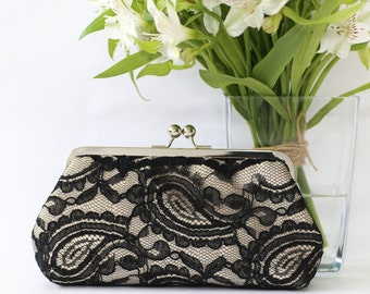 Black & Champagne Alencon Paisley Lace Clutch | Bridal Clutch | Personalized Gift for Mom