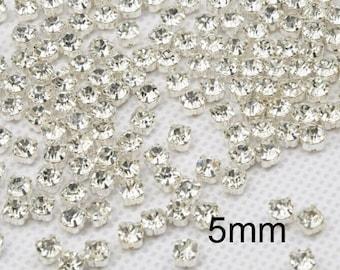 300 Pcs 5mm Sew on Glass Rhinestones.Tiny Glass Rhinestones