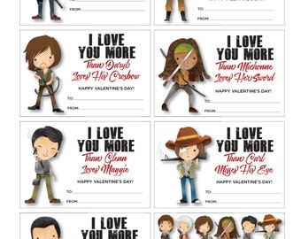 Walking Dead Valentines - Walking Dead Valentine Cards - Rick Carl Dayrl Carol Michonne Negan Lucille Glenn - Immediate Digital Download PDF