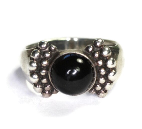 Onyx and Sterling Ring Beaded Accents Size 7.25 Vintage Southwest Boho