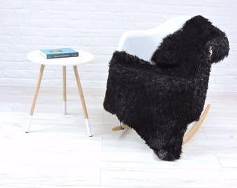 Gotland Sheepskin | Natural Curly Fur Soft Rug | Black & Grey | Large Rare Breed | Decorative for floor chair sofa | 130cm x 80cm | #189