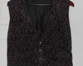 Vintage Rose Patterned Corduroy Vest