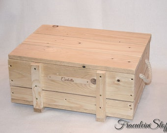 Wooden box with lid, name plate and handles of cord