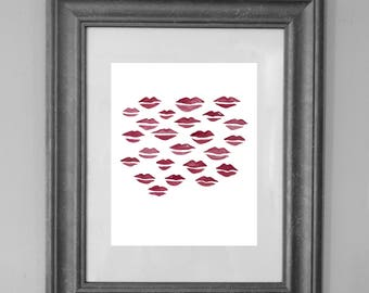 Pink Lips Wall Art / Lip Painting Printable / Valentine Kisses XOXO / Fashion / Bedroom Decor / INSTANT DOWNLOAD