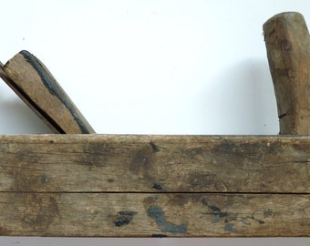 Horn plane antique vintage woodworkers tool bench primitive 18th Ct wooden hand decorative early American