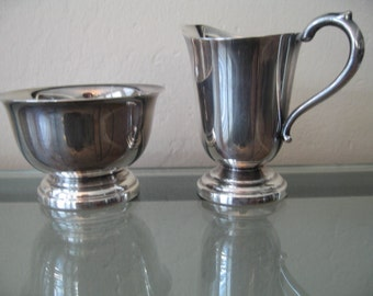 Vintage Cheshire Silverplate Individual Cream & Sugar Set With Pedestal Base